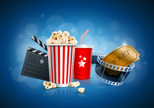 Popcorn box; Disposable scup for beverages with straw, film strip and ticket. Detailed vector illustration. EPS10 file.